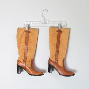 Vntg Tommy Hilfiger corduroy leather riding boots